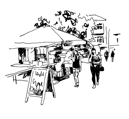 original black and white digital sketch of street cafe with people in center Kyiv, Ukraine town landscape, pleinair drawing, vector illustration