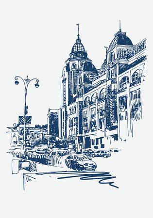 original digital sketch of Kyiv, Ukraine town landscape, pleinair drawing, vector illustration