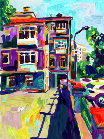 original: original plein air digital oil painting, town old street in summer, modern Impressionism, vector illustration Illustration