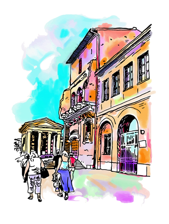italy street: original digital watercolor drawing of Rome street, Italy, old italian imperial building with people walking, travel book vector illustration Illustration