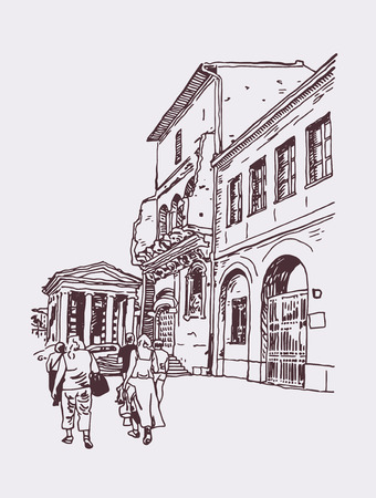 original digital drawing of Rome street, Italy, old italian imperial building with people walking, travel book vector illustration