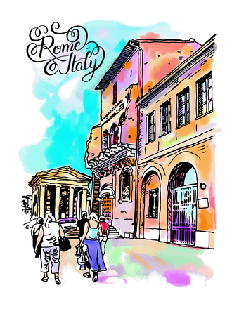 italy street: original digital watercolor drawing of Rome street, Italy, old italian imperial building with people walking and hand lettering inscription, travel book vector illustration