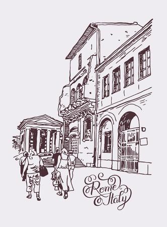 originele digitale tekening van Rome straat, Italië, oude Italiaanse keizerlijke gebouw met mensen lopen en met de hand belettering inscriptie, Reisboek vector illustratie Vector Illustratie