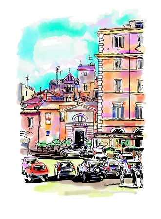 rome: original freehand watercolor travel card from Rome Italy, old italian imperial building with people walking and cars, travel book vector illustration