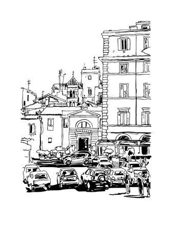 italy street: original freehand black and white ink sketch travel card from Rome Italy, old italian imperial building with people walking and cars, travel book vector illustration