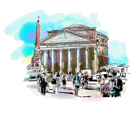original freehand watercolor travel card from Rome Italy, old italian imperial building Pantheon with people walking, travel book vector illustration