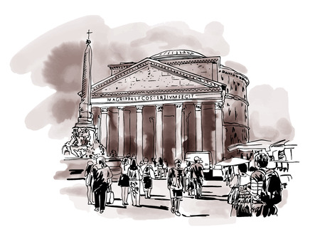 original freehand watercolor sepia travel card from Rome Italy, old italian imperial building Pantheon with people walking, travel book vector illustration Illustration