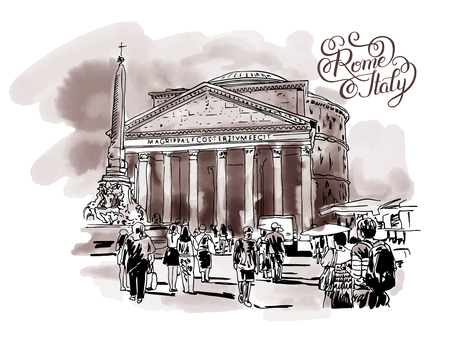 original freehand watercolor sepia travel card from Rome Italy with hand lettering inscription, old italian imperial building Pantheon with people walking, travel book vector illustration Illustration
