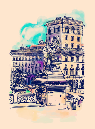 urban: original freehand watercolor travel card from Rome Italy, old italian imperial building and sculpture monument, travel book vector illustration