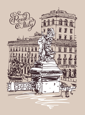 italia: original freehand sketch travel card from Rome Italy, old italian imperial building and sculpture monument with hand lettering inscription, travel book vector illustration Illustration