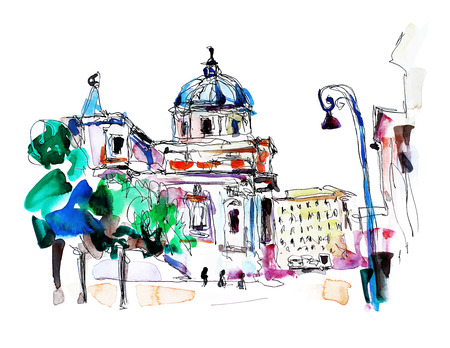 postcards: original freehand watercolor travel card from Rome Italy, old italian imperial building, travel book vector illustration