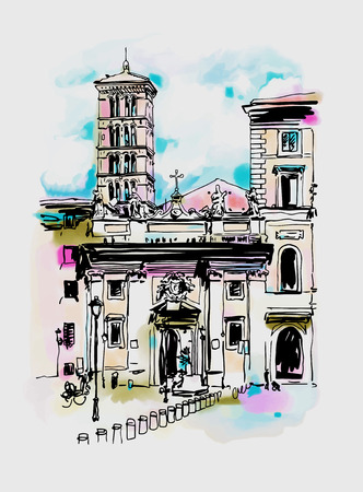 original digital watercolor drawing of Rome street, Italy, old italian imperial building, travel book vector illustration
