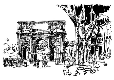 original black and white sketch digital drawing Rome Italy landmark - arch of Konstantine (Arco Constantino) with trees and travel people, vector illustration Illustration