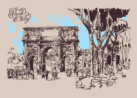 original sketch digital sepia drawing Rome Italy landmark - arch of Konstantine (Arco Constantino) with trees and travel people, vector illustration Illustration