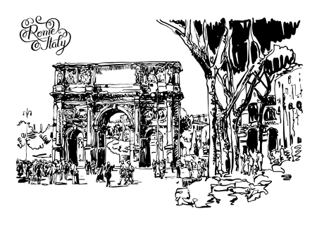 roman empire: original black and white sketch digital drawing Rome Italy landmark - arch of Konstantine (Arco Constantino) with trees, travel people and lettering inscription, vector illustration