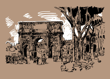 constantino: original sketch digital sepia drawing Rome Italy landmark - arch of Konstantine (Arco Constantino) with trees and travel people, vector illustration Illustration
