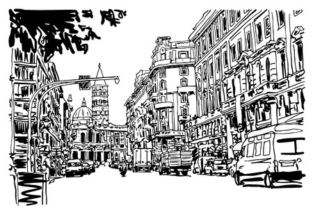 urban building: original black and white urban architectural sketch drawing of Italy road cityscape building and cars, vector illustration Illustration