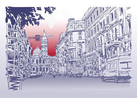 元都市建築スケッチ イタリア街道の街並みと車、ベクター グラフィックの描画