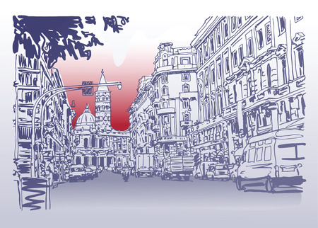 disegno originale urbano disegno architettonico d'Italia su strada costruzione paesaggio urbano e le automobili, illustrazione vettoriale