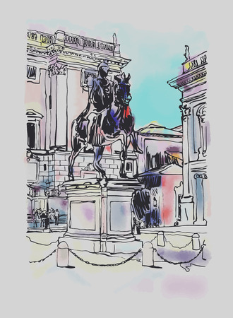 historical building: sketch digital drawing of Rome Italy cityscape with sculpture equestrian statue and historical building, vector illustration