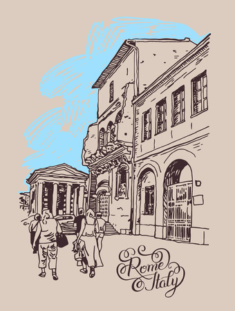 italy street: original digital drawing of Rome street, Italy, old italian imperial building with people walking and hand lettering inscription, travel book vector illustration Illustration