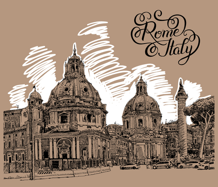 basilica: original digital drawing of Rome Italy cityscape with lettering inscription for your travel card design, basilica sketch, vector illustration Illustration