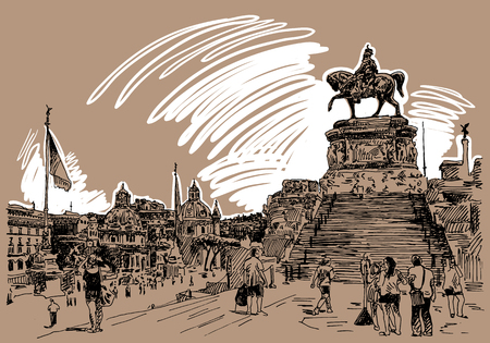 italian culture: sketch hand drawing of Piazza Venezia in Rome - Altar of the Fatherland Italy, Vittorio Emanuele, Monument for Victor Emenuel II, famous cityscape, vector illustration