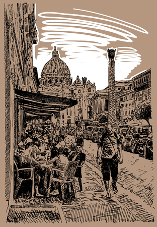 original sketch hand drawing of Rome Italy famous cityscape, travel card, vector illustration Illustration