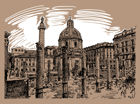 pencil drawing: original sketch hand drawing of Rome Italy famous cityscape, travel card, vector illustration Illustration