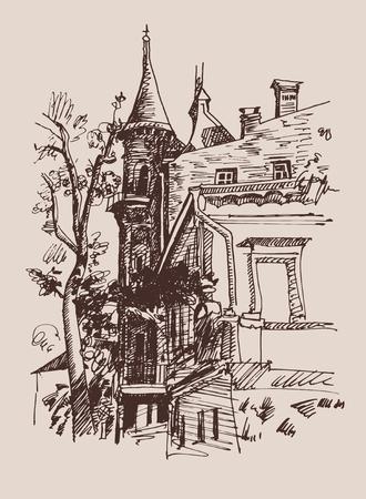 historical landmark: original sketch drawing of historical building from Kyiv Ukraine landmark, vector illustration