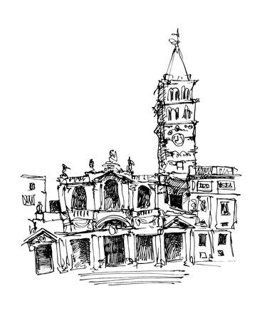 travel card: freehand sketch drawing Rome Italy cityscape for your travel card design, basilica papale santa maria maggiore, vector illustration