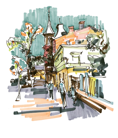 draw a sketch: original hand draw marker sketch of Kyiv building landscape, pleinair sketching Illustration