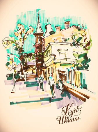 touristic: original hand draw marker sketch of Kyiv building landscape, pleinair sketching Illustration