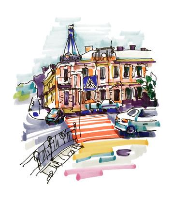 ukraine: original hand draw marker sketch of Kyiv building landscape, pleinair sketching Illustration