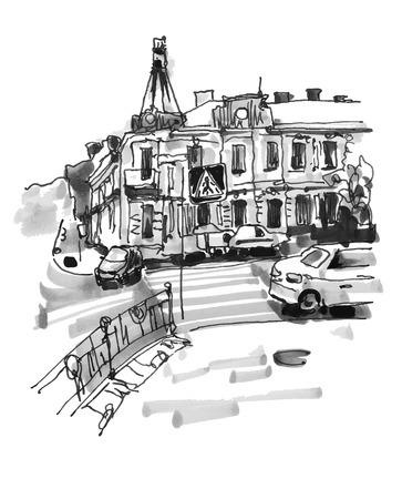 original hand draw marker sketch of Kyiv building landscape, pleinair sketching Illustration