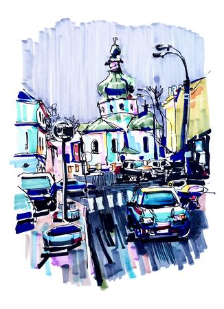 travel card: original marker urban sketch on paper of Kyiv Podol landscape with church, road, cars, lantern and building, travel card illustration Illustration