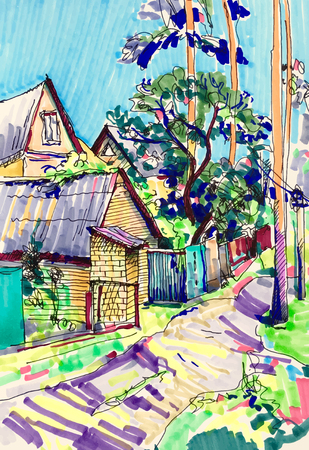 rural house: original marker sketch painting of rural landscape with house and tree in Irpin Kyiv region Ukraine, travel book illustration