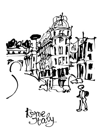 travel card: black and white sketch hand drawing of Rome Italy famous cityscape, travel card, vector illustration