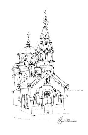 black and white freehand sketch drawing of Church in Podol Kyiv Ukraine, pleinair artwork vector illustration
