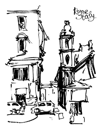 italy landscape: black and white freehand sketch drawing of Rome Italy landscape, pleinair artwork vector illustration Illustration