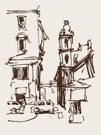italy landscape: freehand sketch seria drawing of Rome Italy landscape, pleinair artwork vector illustration Illustration
