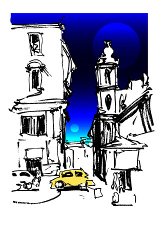 moons: freehand sketch drawing of Rome Italy landscape with two moons and yellow car, pleinair artwork vector illustration Illustration