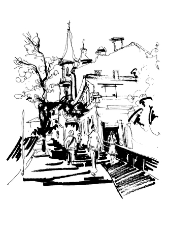 original black and white sketch drawing of Zoloti Vorota (Golden Gate) place in Kyiv Ukraine, freehand ink illustration