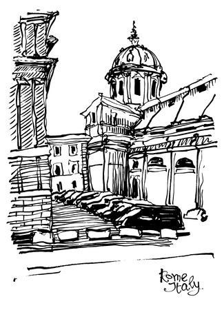 historical building: black and white sketch drawing of Rome cityscape, Italy old historical building, vector illustration