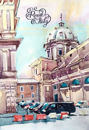 Original-Aquarell von Rom Italien Wahrzeichen der Stadt, alten italienischen imperial Gebäude, Pleinair Grafik-Reisebuchillustration