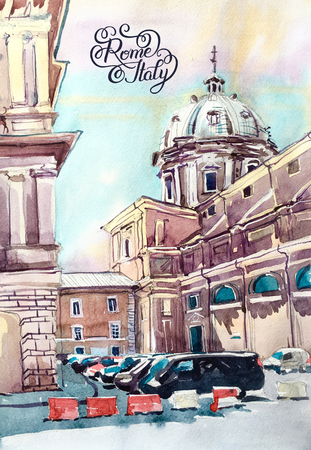 old town: original watercolor painting of Rome Italy famous landmark, old italian imperial building, pleinair artwork travel book illustration