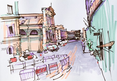 italy street: marker drawing of Rome Italy street landscape, urban sketch illustration Stock Photo