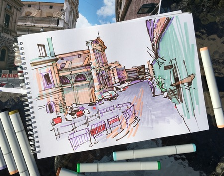 urban street: marker drawing of Rome Italy street landscape, urban sketch illustration Stock Photo
