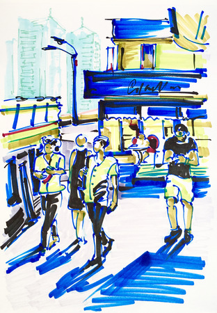 move in: urban sketch markers drawing on paper of street city Kyiv Ukraine with building and people move in sunshine day