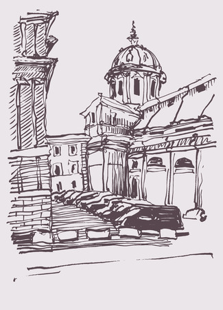 pencil drawings: sketch hand drawing of Rome Italy famous cityscape, travel card, vector illustration